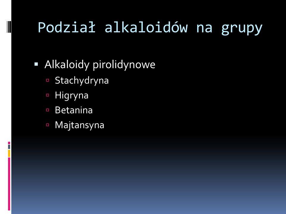 Podział alkaloidów na grupy Alkaloidy pirolidynowe Stachydryna Higryna Betanina Majtansyna