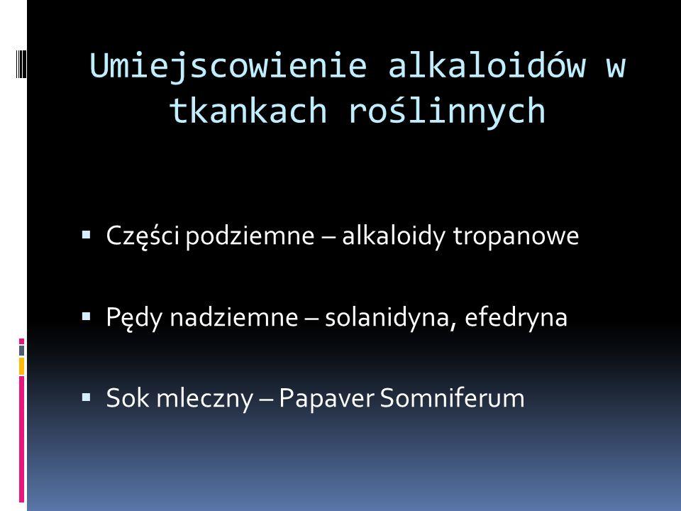 Podział alkaloidów na grupy: Alkaloidy akrydynowe Akronycyna Kokulina Alkaloidy monoterpenowe Aktynidyna Skytantyna tekomanina Alkaloidy seskwiterpenowe Dezoksynufarydyna Neotiobinufarydyna