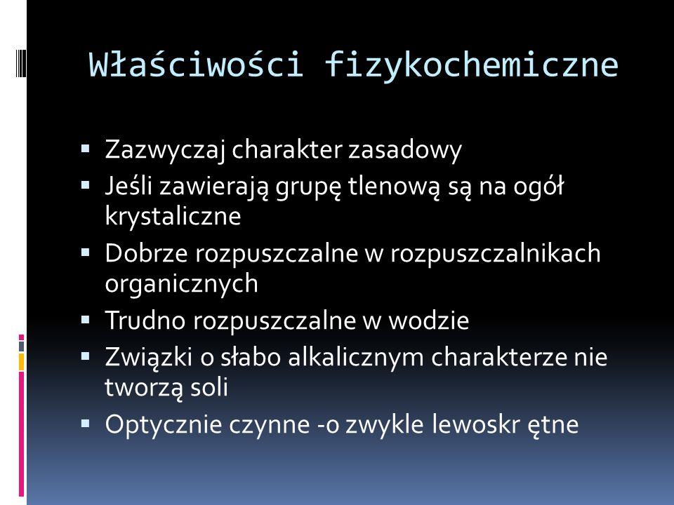Podział alkaloidów na grupy Alkaloidy diterpenowe Akonityna Alkaloidy Amaryllidaceae Galantamina Alkaloidy Colchicum Kolchicyna Demekolcyna kolchikozyd