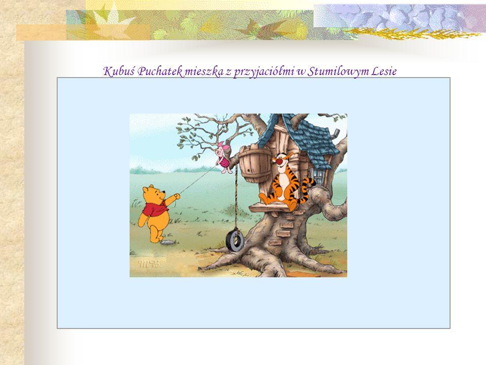 Kubuś Puchatek mieszka z przyjaciółmi w Stumilowym Lesie
