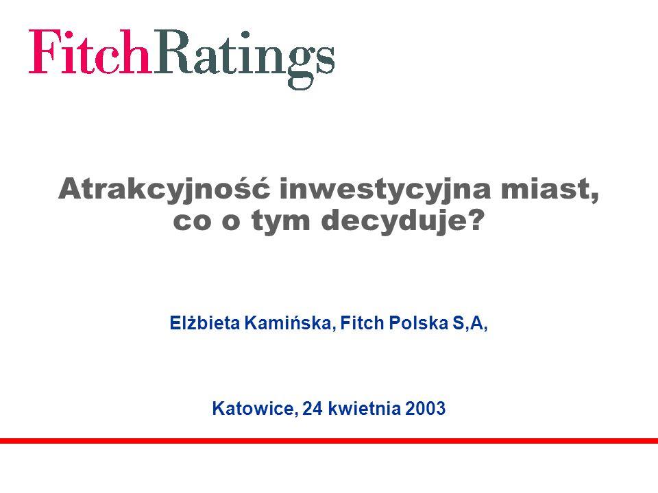 Atrakcyjność inwestycyjna miast, co o tym decyduje? Elżbieta Kamińska, Fitch Polska S,A, Katowice, 24 kwietnia 2003
