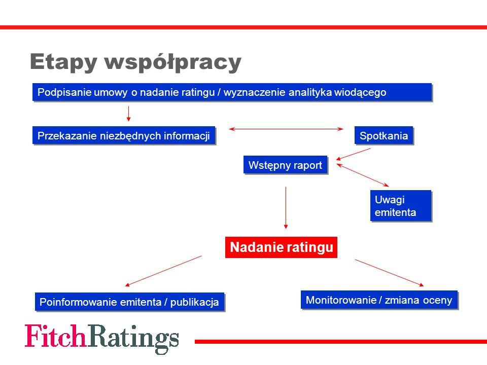Etapy współpracy Podpisanie umowy o nadanie ratingu / wyznaczenie analityka wiodącego Przekazanie niezbędnych informacji Spotkania Wstępny raport Poin
