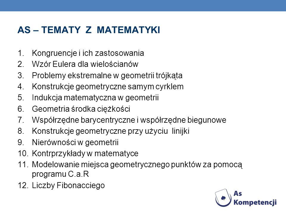 AS – TEMATY Z MATEMATYKI 1.Kongruencje i ich zastosowania 2.Wzór Eulera dla wielościanów 3.Problemy ekstremalne w geometrii trójkąta 4.Konstrukcje geo