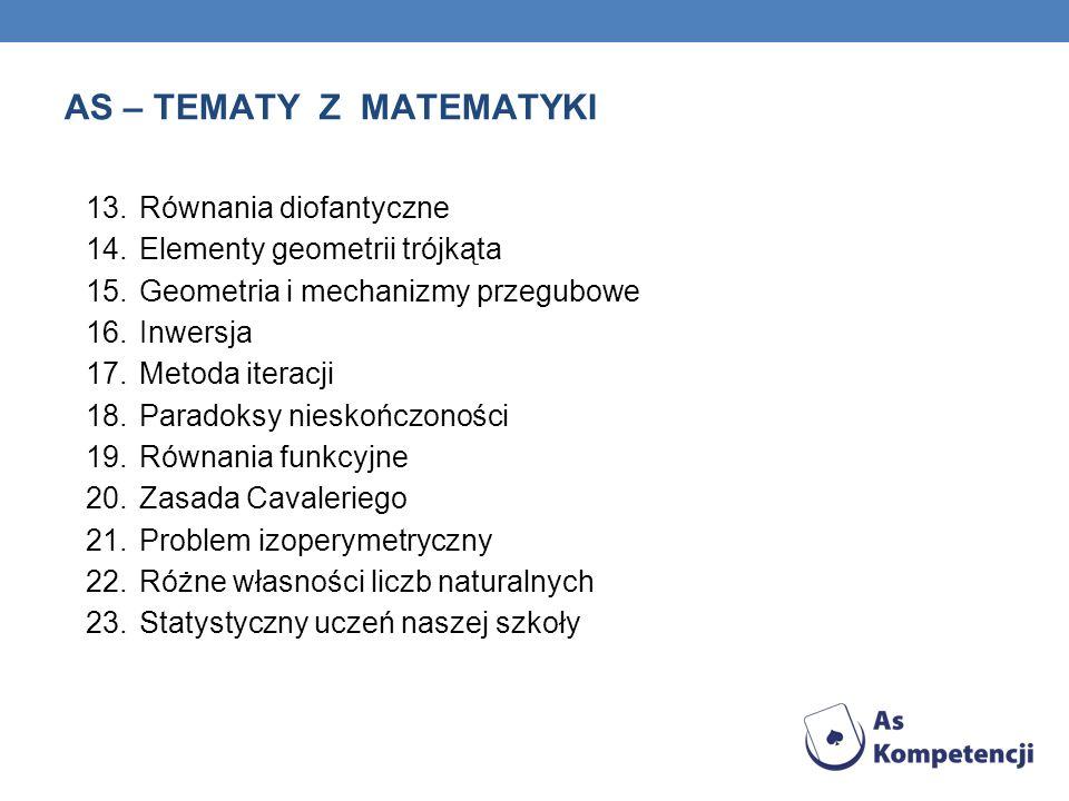 AS – TEMATY Z MATEMATYKI 13.Równania diofantyczne 14.Elementy geometrii trójkąta 15.Geometria i mechanizmy przegubowe 16.Inwersja 17.Metoda iteracji 1