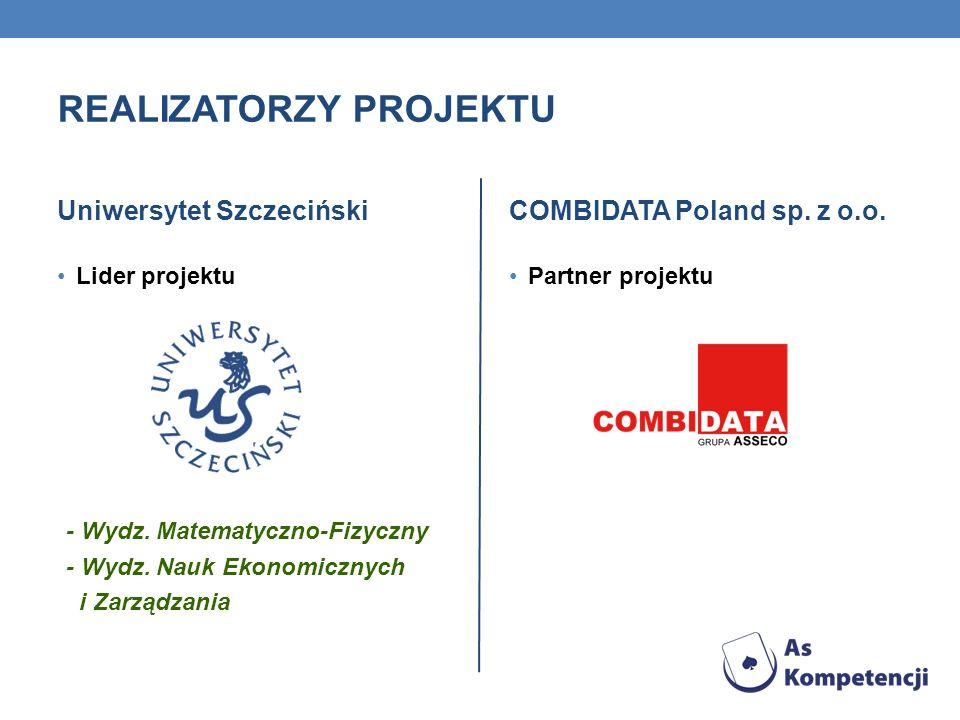 REALIZATORZY PROJEKTU Uniwersytet Szczeciński Lider projektu COMBIDATA Poland sp. z o.o. Partner projektu - Wydz. Matematyczno-Fizyczny - Wydz. Nauk E