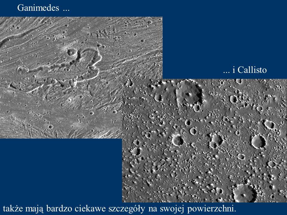 Na Io możemy zaobserwować dużą aktywność wulkaniczną. Europa ma powierzchnię pokrytą lodem.