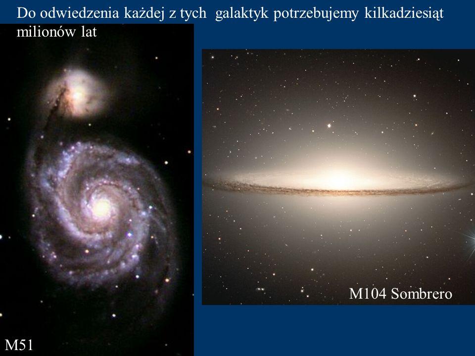 Najbliższą, podobną do naszej, galaktykę napotkamy po około 2 milionach lat naszej wyprawy. Galaktyka M31 w gwiazdozbiorze Andromedy.