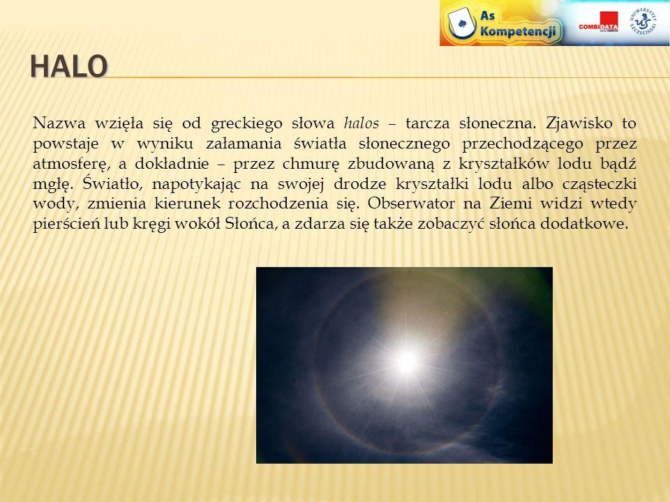 SŁUPY ŚWIETLNE Słup świetlny to zjawisko optyczne zachodzące w atmosferze. Ma formę świetlistej prostej smugi leżącej w płaszczyźnie określonej przez