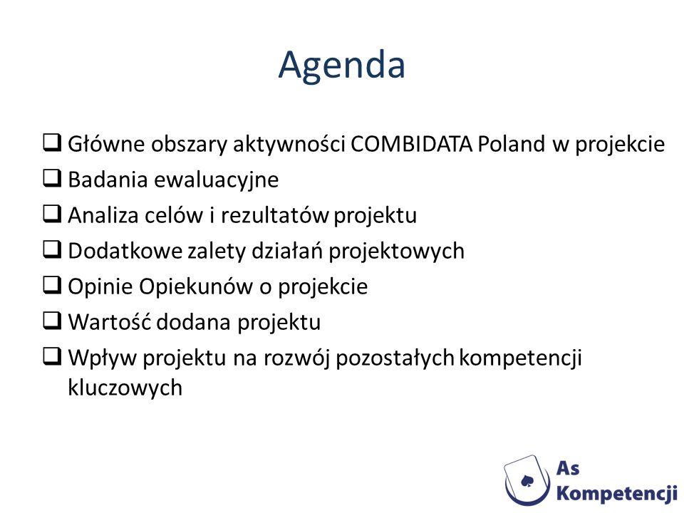 Agenda Główne obszary aktywności COMBIDATA Poland w projekcie Badania ewaluacyjne Analiza celów i rezultatów projektu Dodatkowe zalety działań projekt