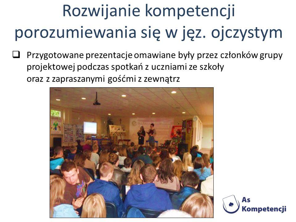 Przygotowane prezentacje omawiane były przez członków grupy projektowej podczas spotkań z uczniami ze szkoły oraz z zapraszanymi gośćmi z zewnątrz Roz