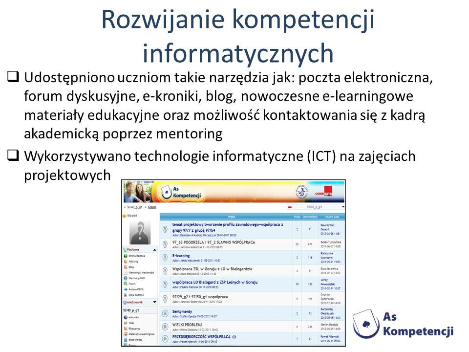 Rozwijanie kompetencji informatycznych Udostępniono uczniom takie narzędzia jak: poczta elektroniczna, forum dyskusyjne, e-kroniki, blog, nowoczesne e