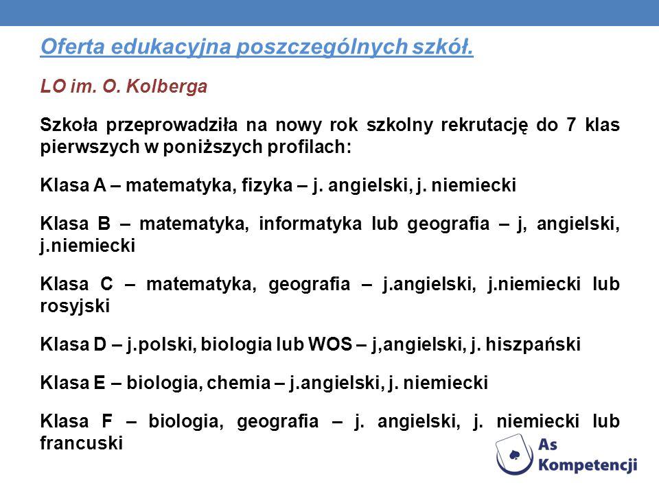 Oferta edukacyjna poszczególnych szkół. LO im. O. Kolberga Szkoła przeprowadziła na nowy rok szkolny rekrutację do 7 klas pierwszych w poniższych prof