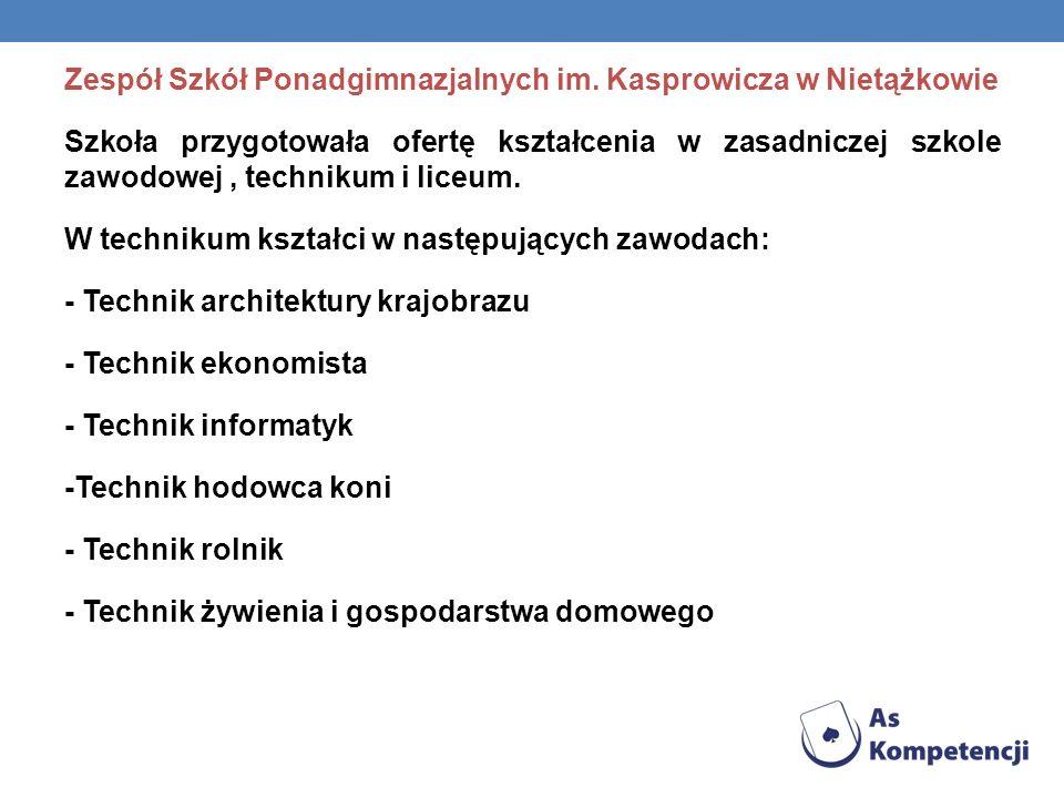 Zespół Szkół Ponadgimnazjalnych im. Kasprowicza w Nietążkowie Szkoła przygotowała ofertę kształcenia w zasadniczej szkole zawodowej, technikum i liceu