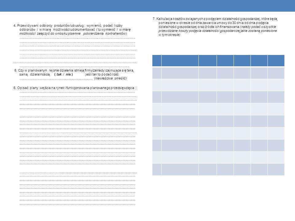 4. Przewidywani odbiorcy produktów lub usług : wymienić, podać liczby odbiorców i w miarę możliwości udokumentować ( tu wymienić i w miarę możliwości