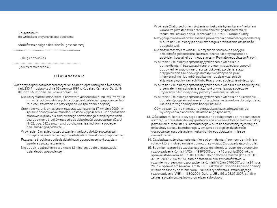 Załącznik Nr 1 do wniosku o przyznanie bezrobotnemu środków na podjęcie działalności gospodarczej ………………………………………………………..