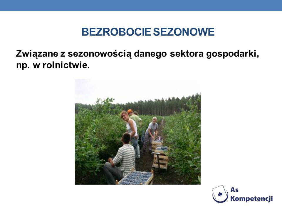 BEZROBOCIE SEZONOWE Związane z sezonowością danego sektora gospodarki, np. w rolnictwie.