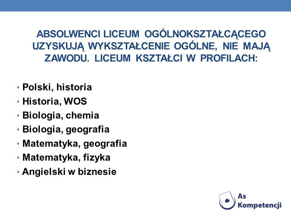ABSOLWENCI LICEUM OGÓLNOKSZTAŁCĄCEGO UZYSKUJĄ WYKSZTAŁCENIE OGÓLNE, NIE MAJĄ ZAWODU. LICEUM KSZTAŁCI W PROFILACH: Polski, historia Historia, WOS Biolo