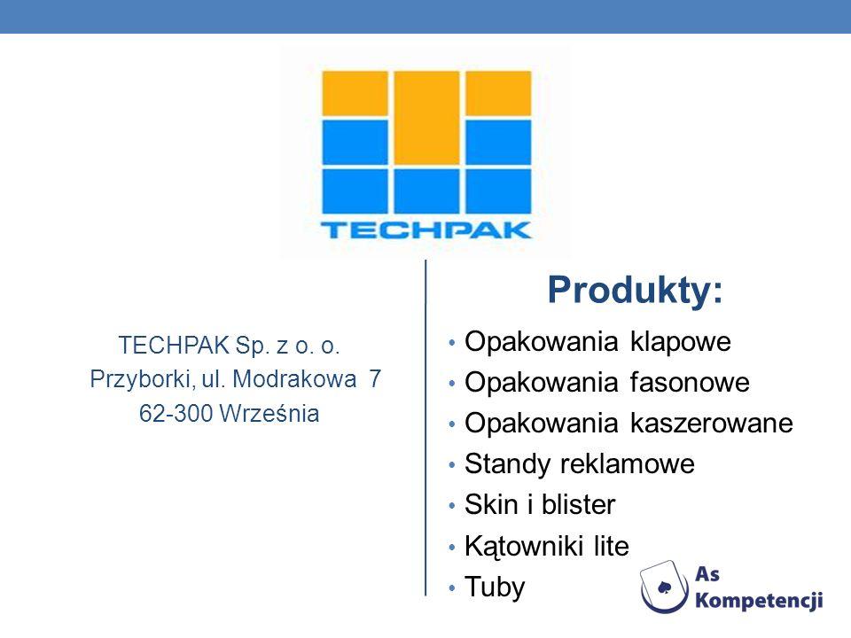 TECHPAK Sp. z o. o. Przyborki, ul. Modrakowa 7 62-300 Września Produkty: Opakowania klapowe Opakowania fasonowe Opakowania kaszerowane Standy reklamow