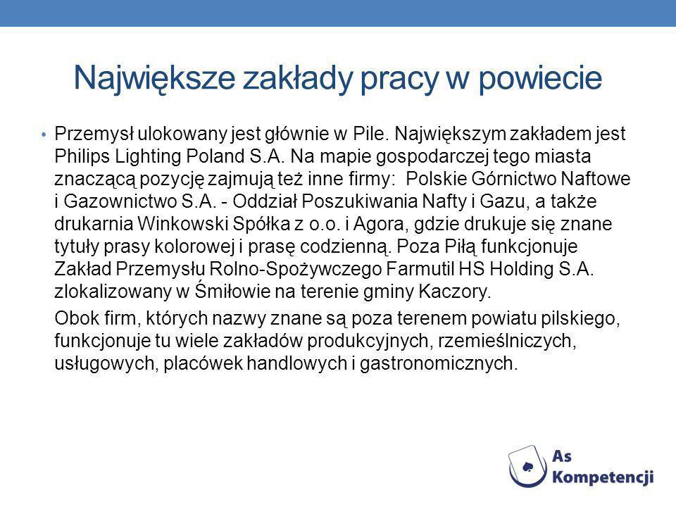 Największe zakłady pracy w powiecie Przemysł ulokowany jest głównie w Pile. Największym zakładem jest Philips Lighting Poland S.A. Na mapie gospodarcz