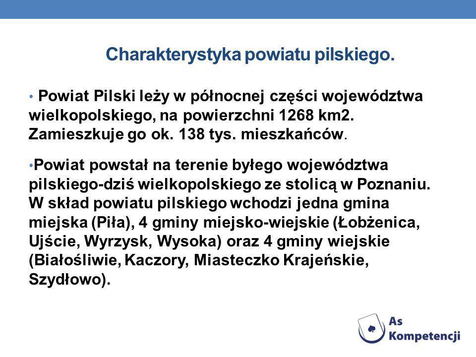 Charakterystyka powiatu pilskiego. Powiat Pilski leży w północnej części województwa wielkopolskiego, na powierzchni 1268 km2. Zamieszkuje go ok. 138