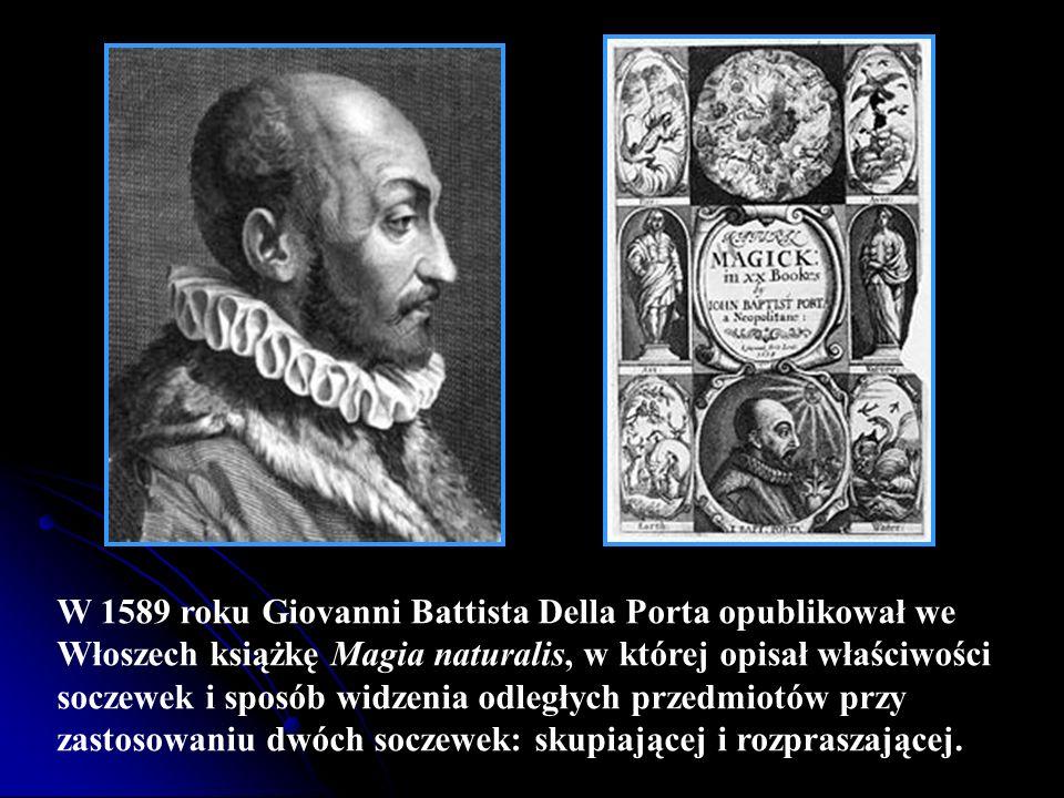 W 1589 roku Giovanni Battista Della Porta opublikował we Włoszech książkę Magia naturalis, w której opisał właściwości soczewek i sposób widzenia odle