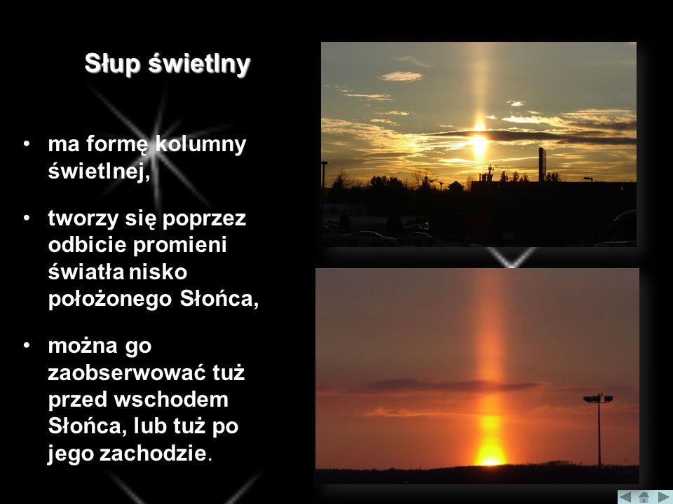 Słup świetlny ma formę kolumny świetlnej, tworzy się poprzez odbicie promieni światła nisko położonego Słońca, można go zaobserwować tuż przed wschodem Słońca, lub tuż po jego zachodzie.