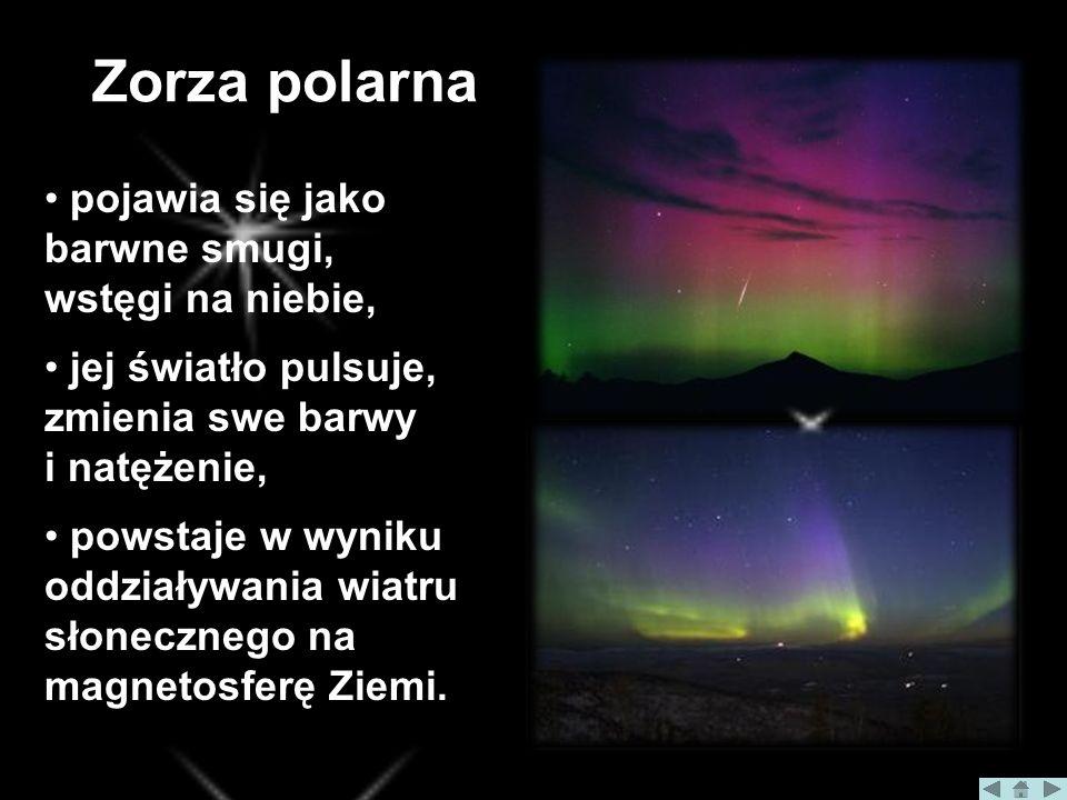 Zorza polarna pojawia się jako barwne smugi, wstęgi na niebie, jej światło pulsuje, zmienia swe barwy i natężenie, powstaje w wyniku oddziaływania wiatru słonecznego na magnetosferę Ziemi.