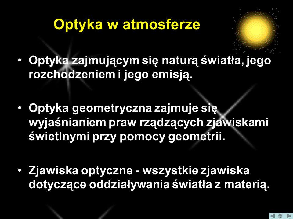 Optyka w atmosferze Optyka zajmującym się naturą światła, jego rozchodzeniem i jego emisją.