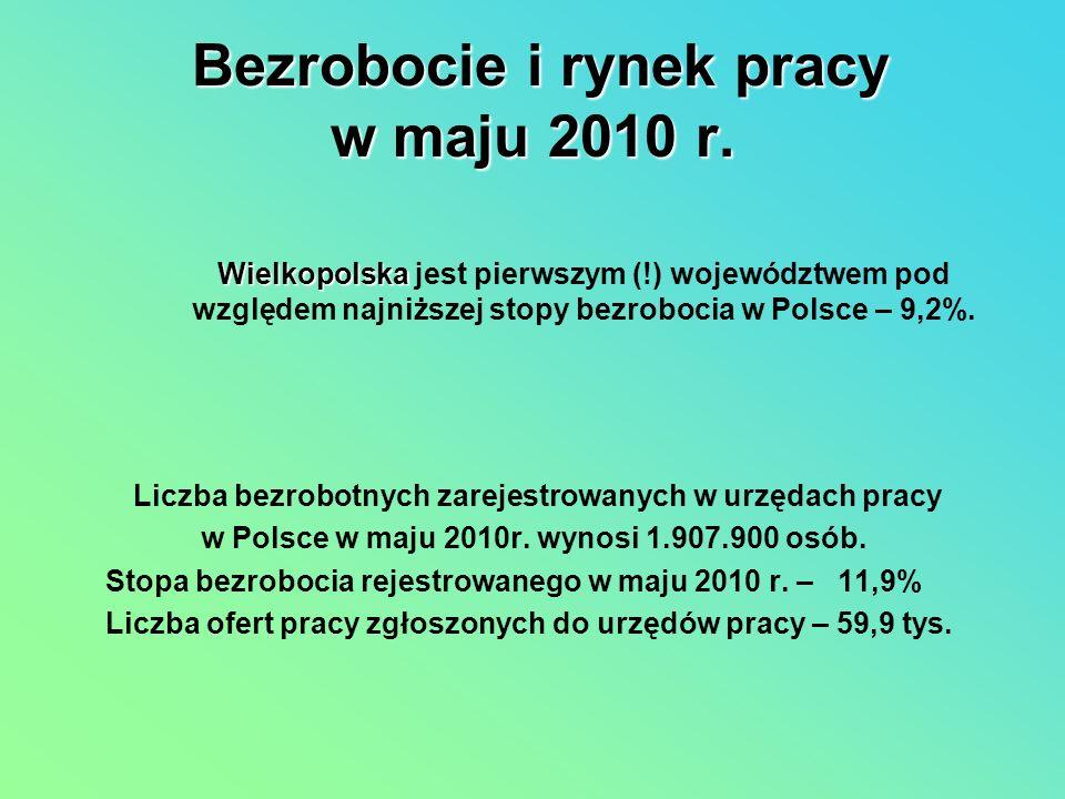Bezrobocie i rynek pracy w maju 2010 r. Liczba bezrobotnych zarejestrowanych w urzędach pracy w Polsce w maju 2010r. wynosi 1.907.900 osób. Stopa bezr