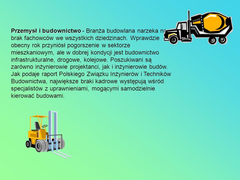 Przemysł i budownictwo Przemysł i budownictwo - Branża budowlana narzeka na brak fachowców we wszystkich dziedzinach. Wprawdzie obecny rok przyniósł p
