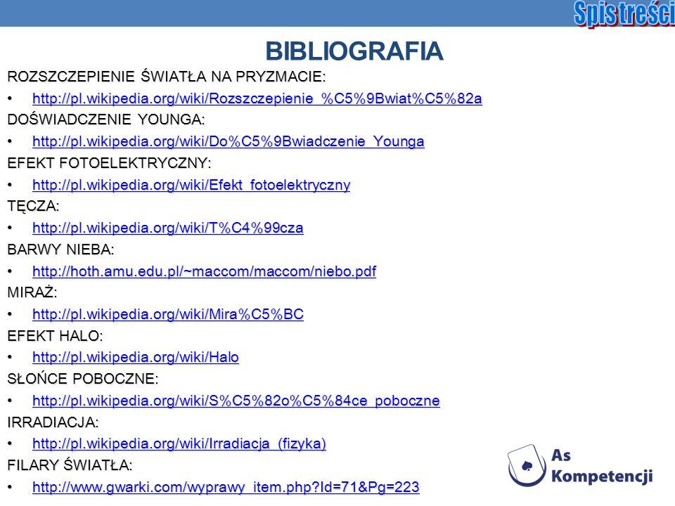 BIBLIOGRAFIA ROZSZCZEPIENIE ŚWIATŁA NA PRYZMACIE: http://pl.wikipedia.org/wiki/Rozszczepienie_%C5%9Bwiat%C5%82ahttp://pl.wikipedia.org/wiki/Rozszczepi