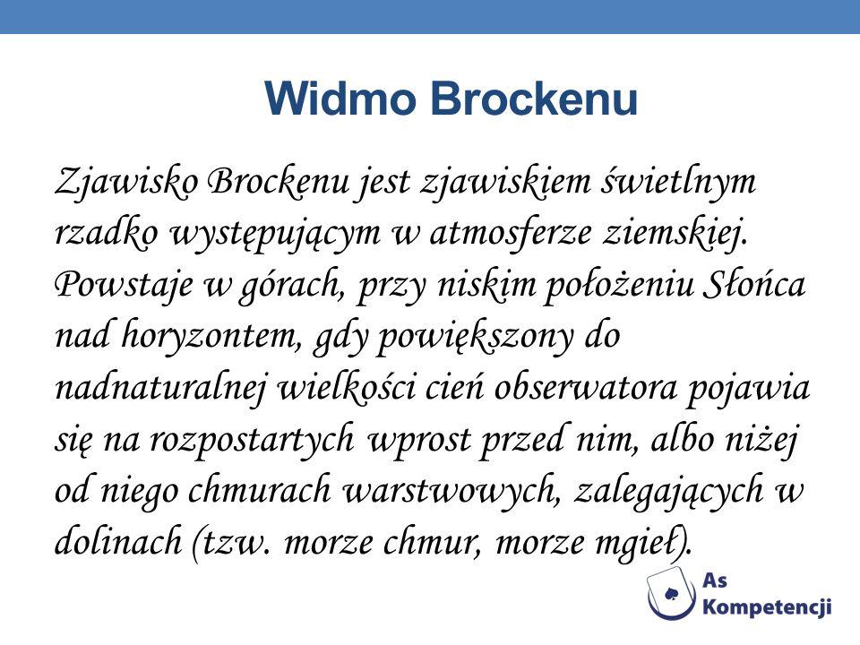 Widmo Brockenu Zjawisko Brockenu jest zjawiskiem świetlnym rzadko występującym w atmosferze ziemskiej.