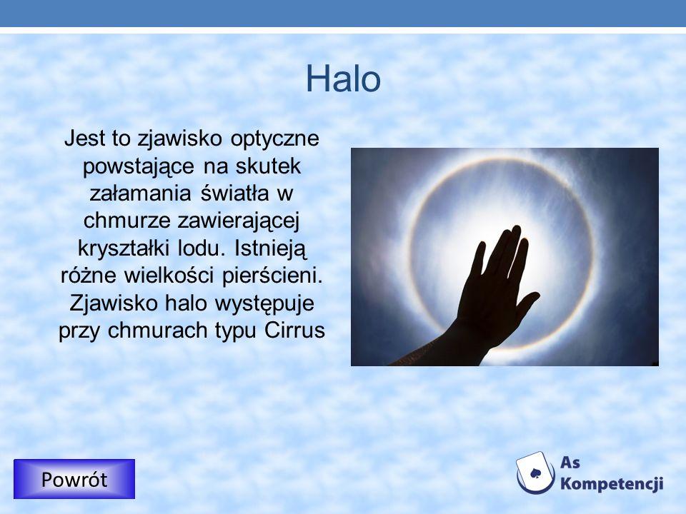 Halo Jest to zjawisko optyczne powstające na skutek załamania światła w chmurze zawierającej kryształki lodu. Istnieją różne wielkości pierścieni. Zja