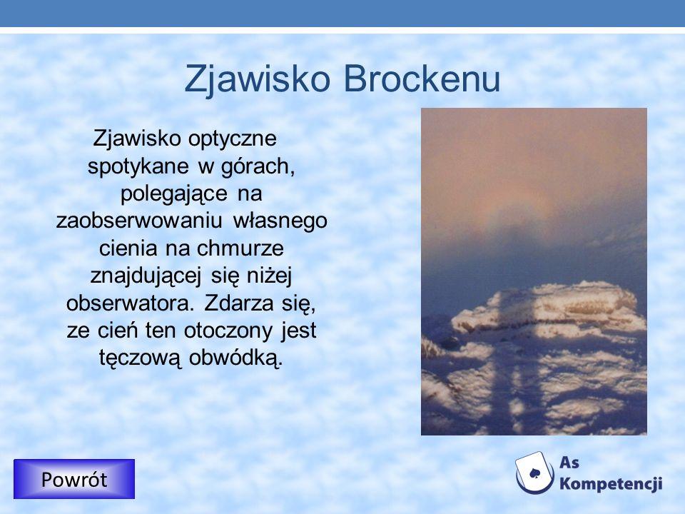 Zjawisko Brockenu Zjawisko optyczne spotykane w górach, polegające na zaobserwowaniu własnego cienia na chmurze znajdującej się niżej obserwatora. Zda