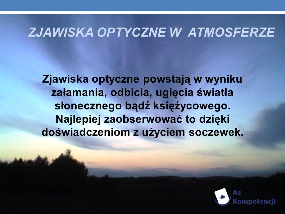 ZJAWISKA OPTYCZNE W ATMOSFERZE Zjawiska optyczne powstają w wyniku załamania, odbicia, ugięcia światła słonecznego bądź księżycowego. Najlepiej zaobse