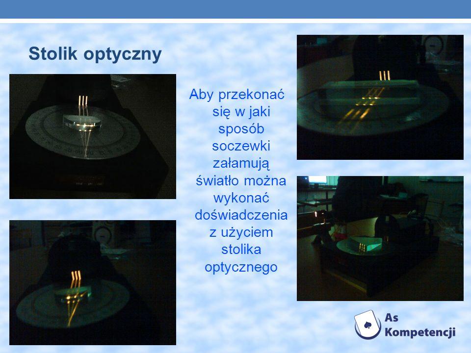 Stolik optyczny Aby przekonać się w jaki sposób soczewki załamują światło można wykonać doświadczenia z użyciem stolika optycznego