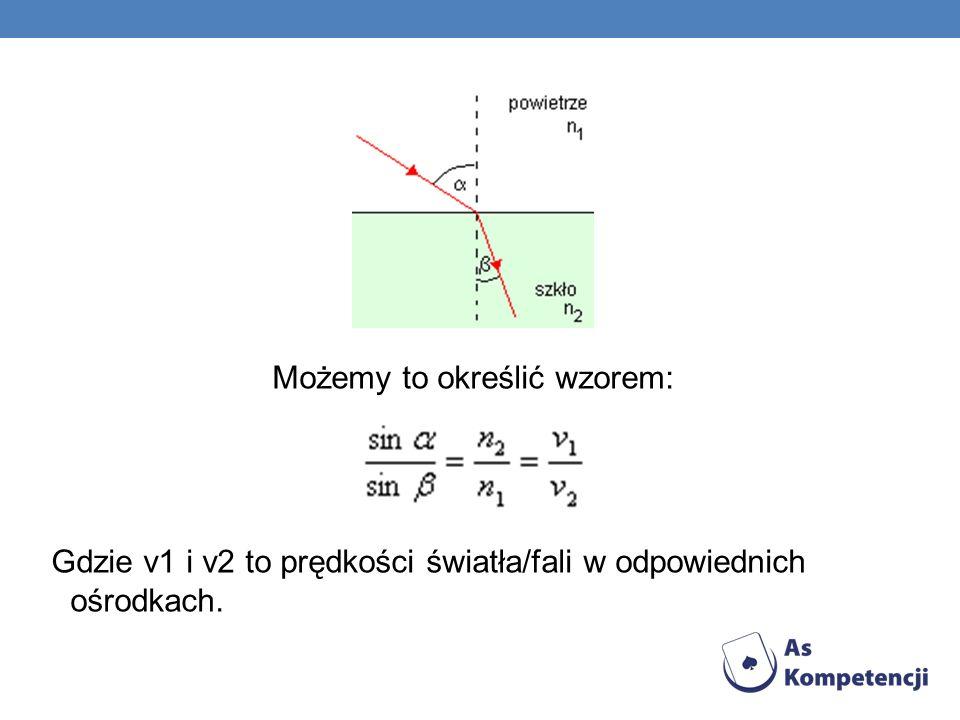 Możemy to określić wzorem: Gdzie v1 i v2 to prędkości światła/fali w odpowiednich ośrodkach.