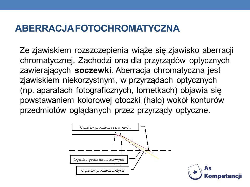 ABERRACJA FOTOCHROMATYCZNA Ze zjawiskiem rozszczepienia wiąże się zjawisko aberracji chromatycznej. Zachodzi ona dla przyrządów optycznych zawierający