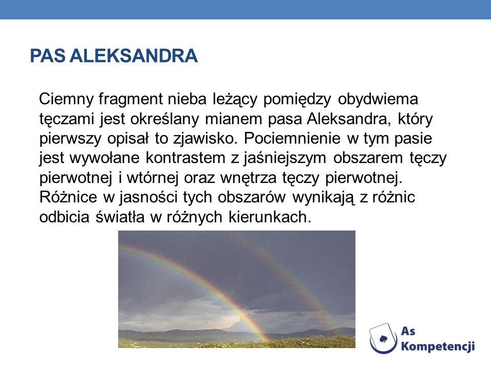 PAS ALEKSANDRA Ciemny fragment nieba leżący pomiędzy obydwiema tęczami jest określany mianem pasa Aleksandra, który pierwszy opisał to zjawisko. Pocie