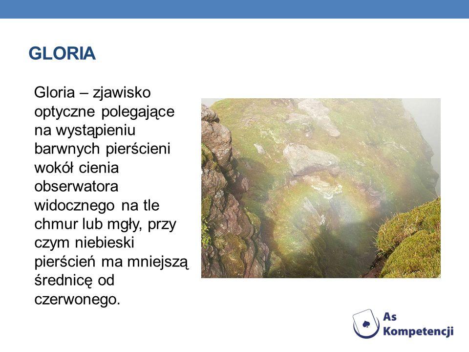 Gloria – zjawisko optyczne polegające na wystąpieniu barwnych pierścieni wokół cienia obserwatora widocznego na tle chmur lub mgły, przy czym niebiesk