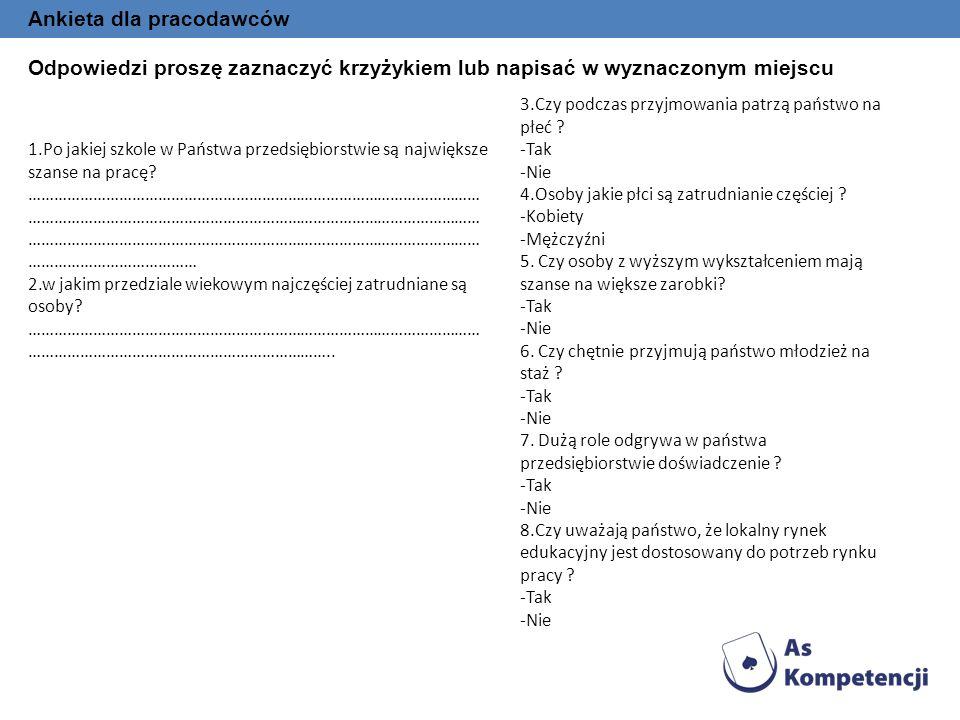 Ankieta dla pracodawców Odpowiedzi proszę zaznaczyć krzyżykiem lub napisać w wyznaczonym miejscu 1.Po jakiej szkole w Państwa przedsiębiorstwie są naj