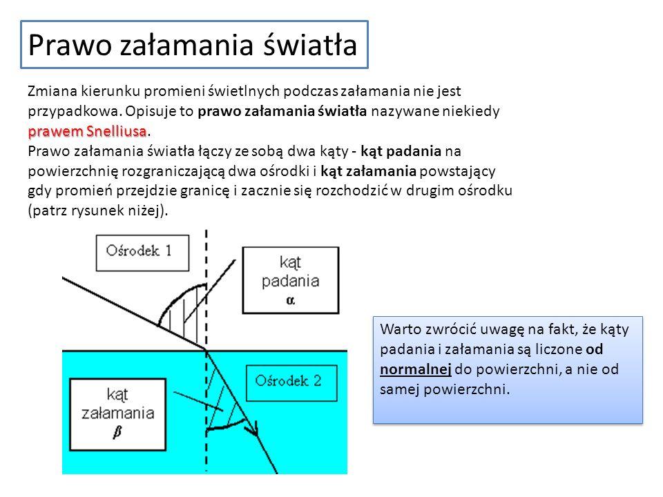 Prawo załamania światła prawem Snelliusa Zmiana kierunku promieni świetlnych podczas załamania nie jest przypadkowa. Opisuje to prawo załamania światł