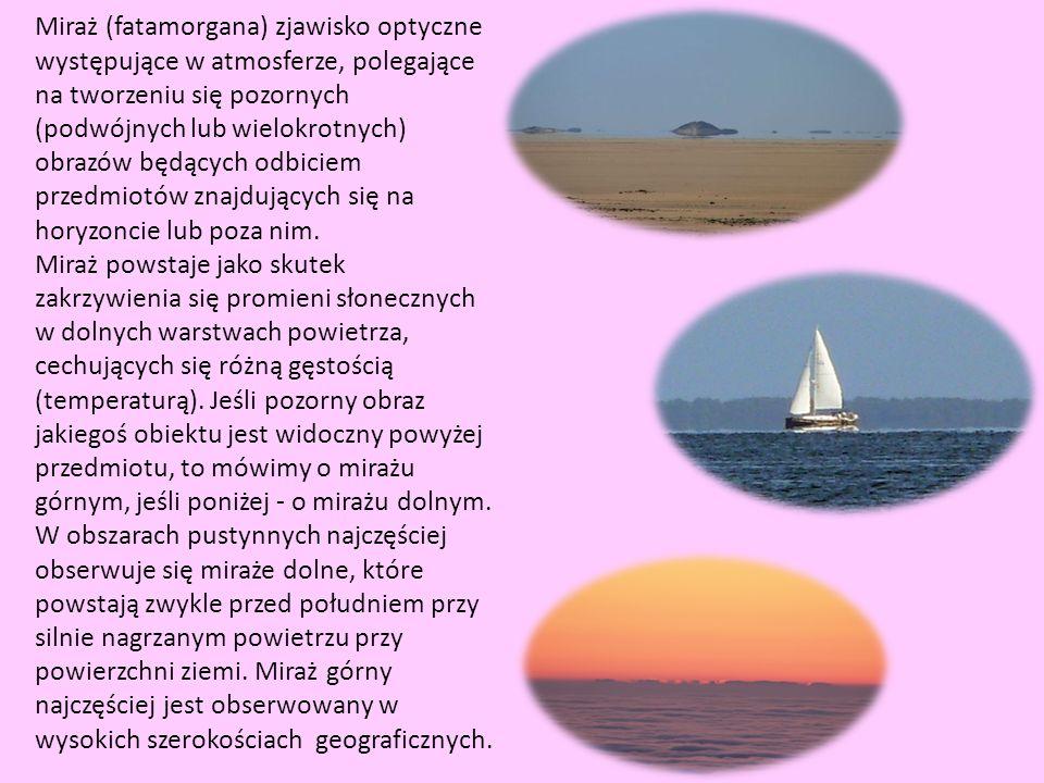 Miraż (fatamorgana) zjawisko optyczne występujące w atmosferze, polegające na tworzeniu się pozornych (podwójnych lub wielokrotnych) obrazów będących
