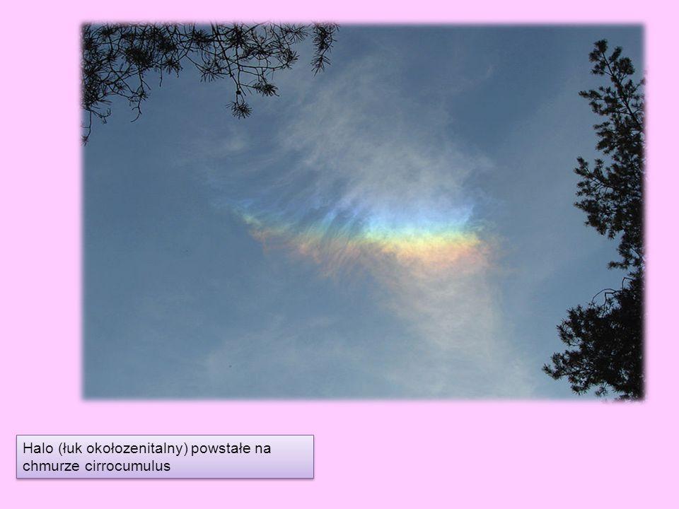 Halo (łuk okołozenitalny) powstałe na chmurze cirrocumulus