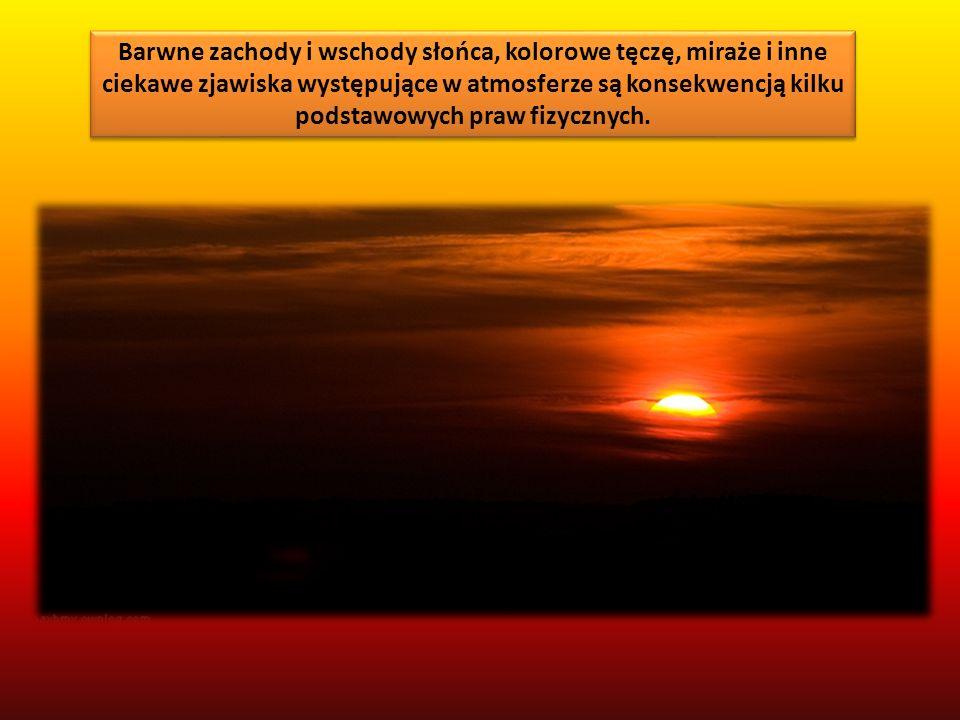Barwne zachody i wschody słońca, kolorowe tęczę, miraże i inne ciekawe zjawiska występujące w atmosferze są konsekwencją kilku podstawowych praw fizyc
