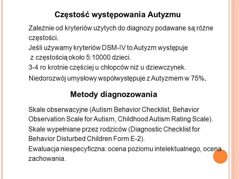 Częstość występowania Autyzmu Zależnie od kryteriów użytych do diagnozy podawane są różne częstości.