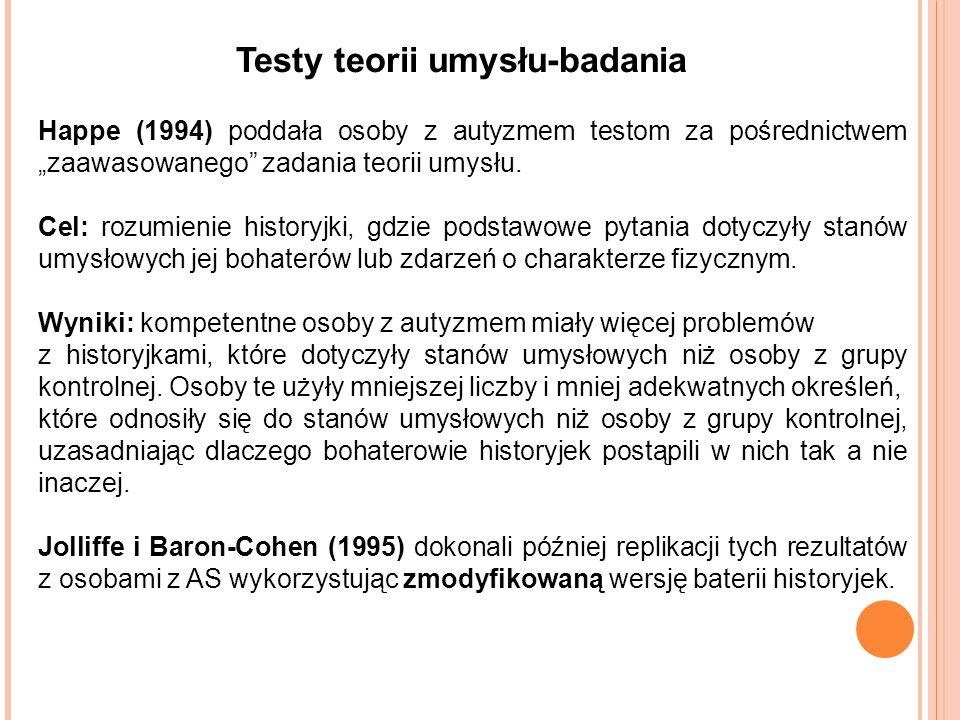 Testy teorii umysłu-badania Happe (1994) poddała osoby z autyzmem testom za pośrednictwem zaawasowanego zadania teorii umysłu.