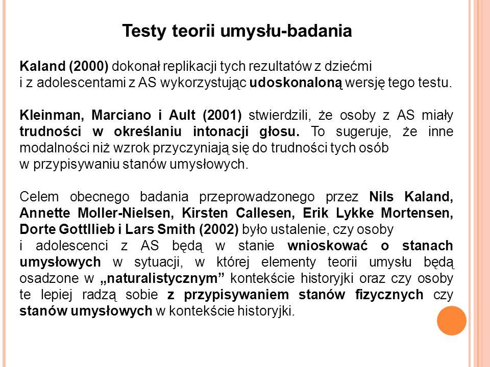 Testy teorii umysłu-badania Kaland (2000) dokonał replikacji tych rezultatów z dziećmi i z adolescentami z AS wykorzystując udoskonaloną wersję tego testu.