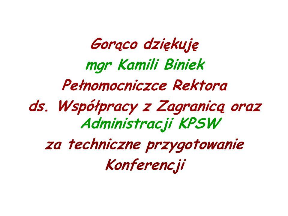 Gor ą co dzi ę kuj ę mgr Kamili Biniek Pełnomocniczce Rektora ds.