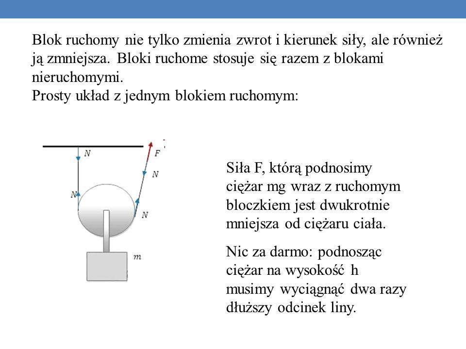 Blok ruchomy nie tylko zmienia zwrot i kierunek siły, ale również ją zmniejsza. Bloki ruchome stosuje się razem z blokami nieruchomymi. Prosty układ z